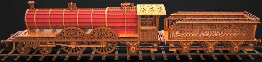 scroll saw fretwork locomotive train